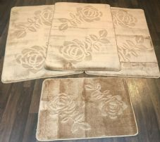 ROMANY GYPSY WASHABLES SET OF TOURER SIZE 67X110CM MATS-RUGS BEIGE/BROWN NO SLIP